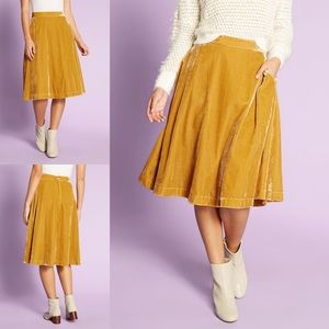 ModCloth Yellow Crushed Velvet A-Line Skirt 16W